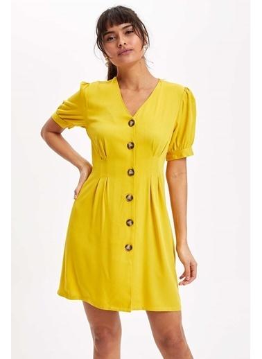 DeFacto V Yaka Düğmeli Mini Elbise Sarı